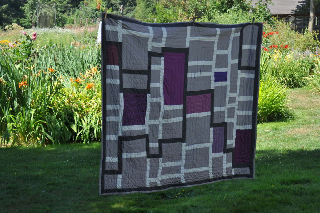 Modern Purple and Grey Quilt by Pieced Together Quilts